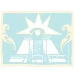 Mayan Double Pyramid with Venus Eye Glyph vector image vector image