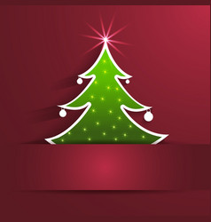 paper Christmas Tree with shadow on red background vector image vector image