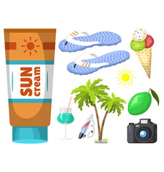 summer time beach sea shore realistic accessory vector image vector image