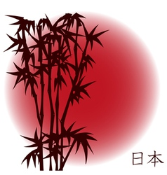 Bamboo on red sun vector image vector image