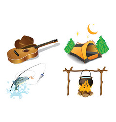 camping icons vector image vector image