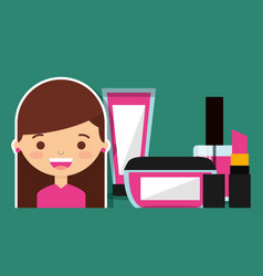 cute girl with make up cosmetic set vector image
