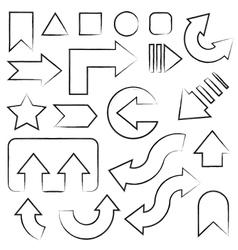 Hand drawn sketch arrows set vector image vector image