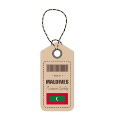 hang tag made in maldives with flag icon isolated vector image vector image