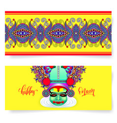 happy onam holiday horizontal greeting card banner vector image vector image