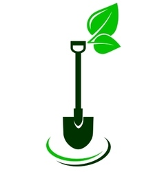 icon with shovel and green leaf vector image vector image