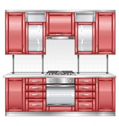 red kitchen vector image vector image