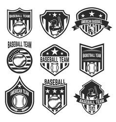 set of baseball team emblems on white background vector image vector image