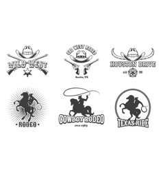Wild West and Rodeo labels vector image