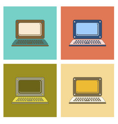 Assembly flat icon technology laptop vector