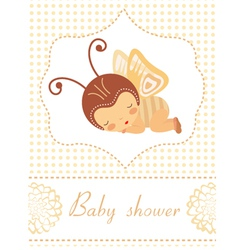 Baby shower card with butterfly girl sleeping vector