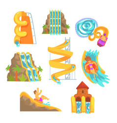 colorful water slides and tubes aquapark vector image vector image