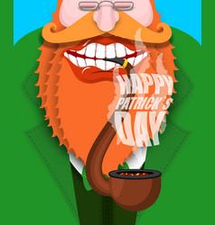 Leprechaun smokes pipe happy patricks day smoking vector