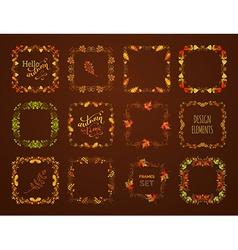 set of autumn leaves frames vector image