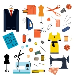 Sewing or tailoring flat icons and items vector image