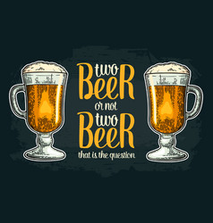 two beer glass vintage engraving vector image vector image