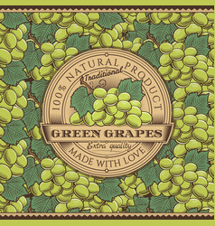 vintage green grapes label on seamless pattern vector image vector image