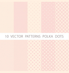 10 patterns seamless pink and white polka dots vector