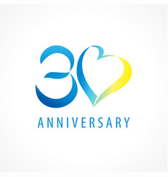 30 anniversary logo heart vector