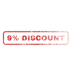 9 percent discount rubber stamp vector
