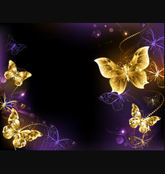 Background with gold butterflies vector