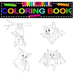 bat coloring book vector image