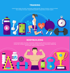 bodybuilding training banners vector image