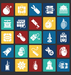 bomb and weapon icons set on color squares vector image