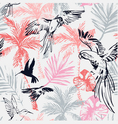 Bright grunge palm trees tropical leaves parrots vector