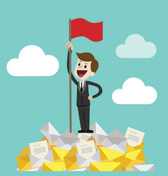 businessman standing on a huge tower stack of vector image