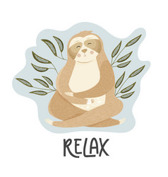 Card with cute cartoon sloth vector