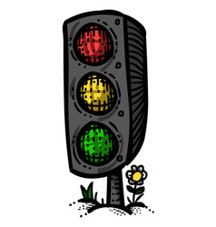 cartoon image of traffic light vector image