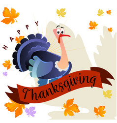 Cartoon thanksgiving turkey character autumn vector
