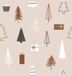christmas season seamless pattern with fir trees vector image