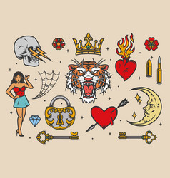 Colorful vintage tattoos vector