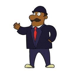 comic cartoon sensible business man in bowler hat vector image