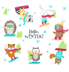 Cute animals enjoying snowboarding isolated vector