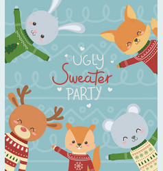 cute animals with christmas ugly sweater party vector image