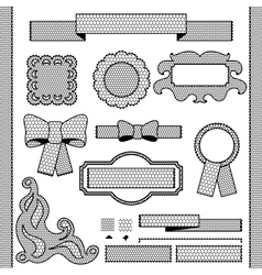 Decorative lace ribbon bows and ornaments vector image
