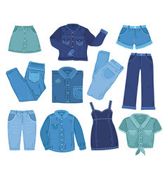 denim clothes fashion jeans clothing isolated vector image