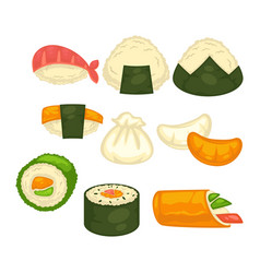 Different sushi and rolls vector