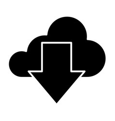 download from cloud solid icon cloud and arrow vector image