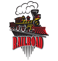 emblem in vintage style with locomotives vector image