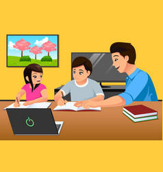 Father teaching kids studying at home vector
