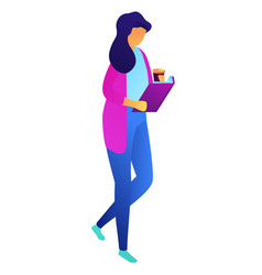 female student walking with coffee and reading vector image