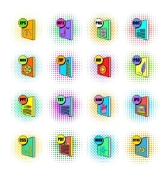 File format icons set pop-art style vector