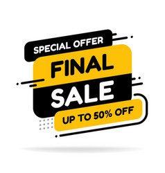 final sale banner discount tag special offer vector image