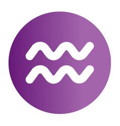 flat color aquarius sign icon vector image