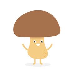 Funny happy cute smiling mushroom porcini vector