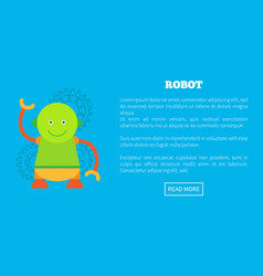 Funny robot with round head and friendly face vector